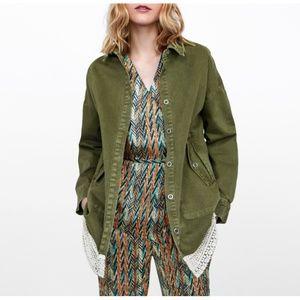 Zara Combined Lace Overshirt Olive Green Jacket S
